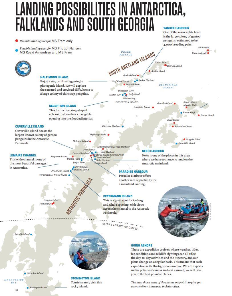 Anlandestellen Antarktis Hurtigruten