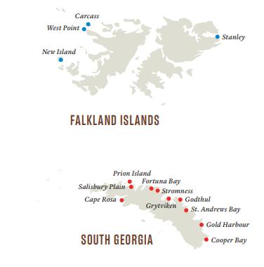 Anlandestellen Südgeorgien Falklandinseln Hurtigruten